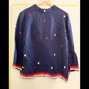 NWT Boden Navy with White and Red Dot Blouse